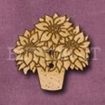 X021 Poinsettia Button 27mm x 26mm