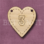 HB-3 Heart Number Bunting 26mm x 28mm