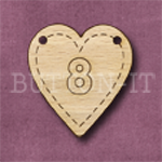 HB-8 Heart Number Bunting 26mm x 28mm