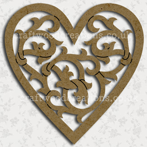 Filigree Craftwood Heart Shape