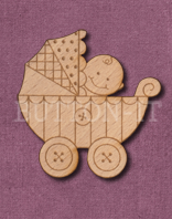 Laser Engraved Baby Boy in Pram Craft Shape
