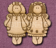 Laser Engraved Folk Angels Craft Shape