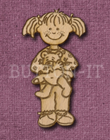Laser Engraved Girl with Teddy Bear Craft Shape