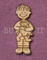 Laser Engraved Boy with Teddy Bear Craft Shape