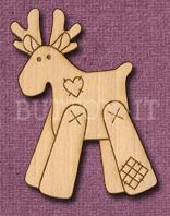 Laser Engraved Patch Reindeer Craft Shape