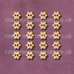 Mini Flower Buttons Laser Cut from Solid Beechwood