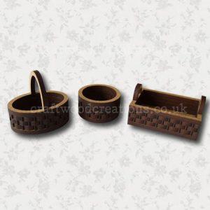 3D Mdf Miniature Baskets