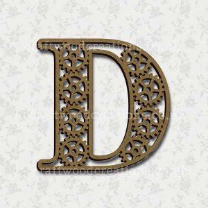 Steampunk Cog Alphabet Letter D