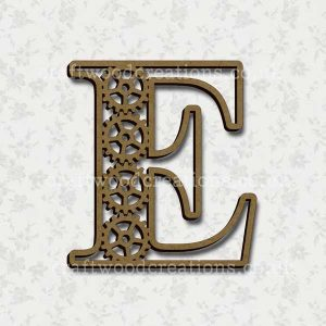 Steampunk Cog Alphabet Letter E