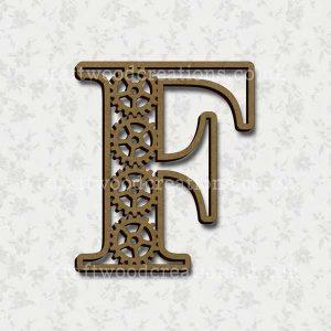 Steampunk Cog Alphabet Letter F