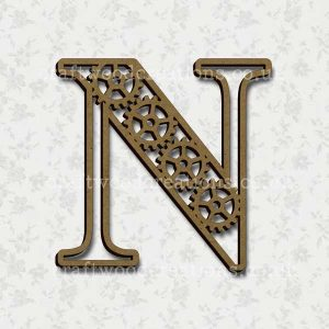 Steampunk Cog Alphabet Letter N