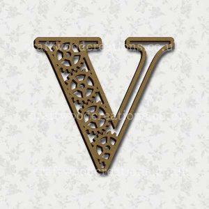Steampunk Cog Alphabet Letter V