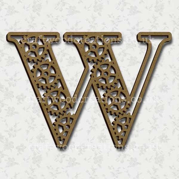 Steampunk Cog Alphabet Letter W