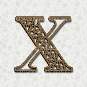 Steampunk Cog Alphabet Letter X