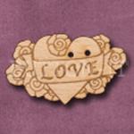721 Love Heart Tatoo Style 36mm x 21mm