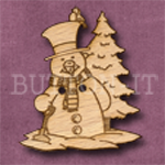 X007 Snowman Button 30mm x 35mm