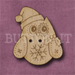 X130 Festive Owl Button 27mm x 31mm