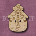 X140 Festive Bird House Button 23mm x 31mm