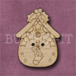 X141 Festive Bird House Button 23mm x 31mm