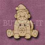 X144 Festive Sock Monkey Button 28mm x 31mm
