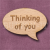 """""""Thinking of you"""" Speech Bubble 36mm x 27mm"""