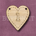 HB-1 Heart Number Bunting 1 26mm x 28mm