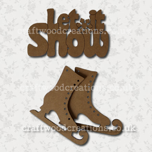 3D Craftwood Let It Snow Sign and Ice Skates