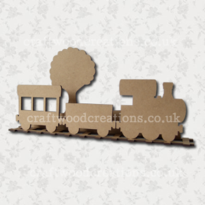 3D Craftwood Train Scene