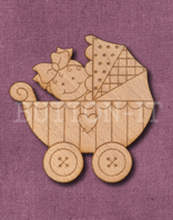 Laser Engraved Baby Girl in Pram Craft Shape