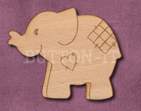 Laser Engraved Patch Elephant Craft Shape