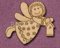 Laser Engraved Fairy with Birdhouse Craft Shape