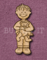 Laser Engraved Boy with Teddy Bear Craft Shape