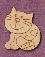 Laser Engraved Patch Cat Craft Shape