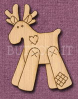 Laser Engraved Patch Reindeer Craft Shape
