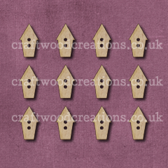 Midi Birdhouse Shaped Buttons Laser Cut