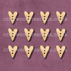 Midi Folk Heart Shaped Buttons Laser Cut