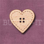1116 Stitched Heart Button 24mm x 23mm