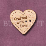 """1118 """"Crafted With Love"""" Button 24mm x 23mm"""