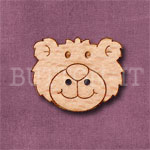 1108 Bear Head Button 25mm x 20mm