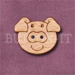 Pig Head Button 25mm x 20mm