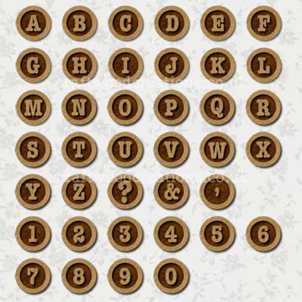 AlphabetTypewriter Keys MDF