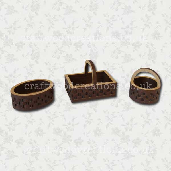 3D Mdf Miniature Baskets