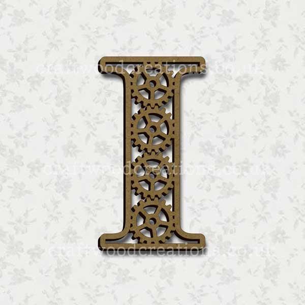 Steampunk Cog Alphabet Letter I