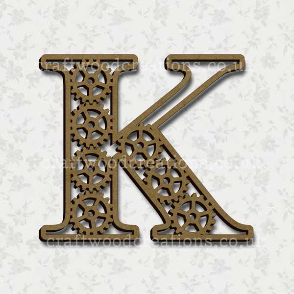 Steampunk Cog Alphabet Letter K