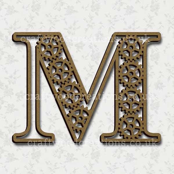 Steampunk Cog Alphabet Letter M
