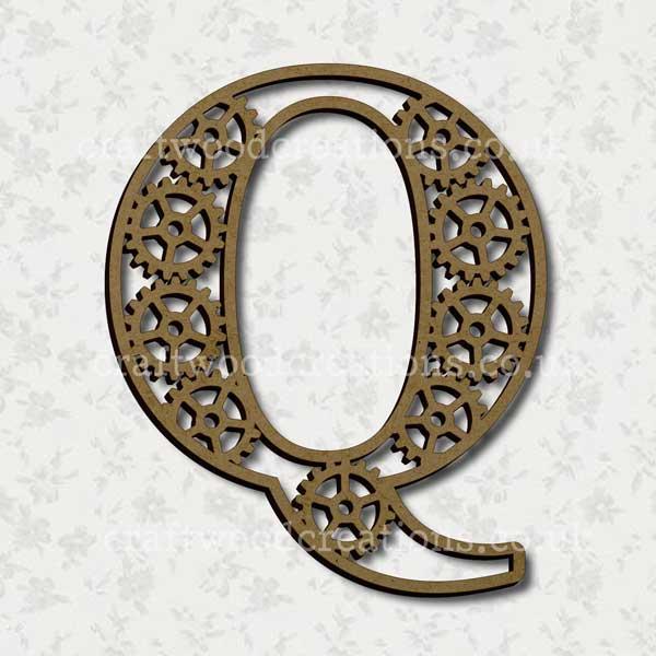 Steampunk Cog Alphabet Letter Q