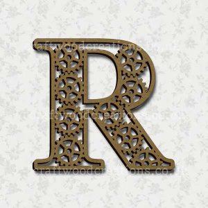 Steampunk Cog Alphabet Letter R
