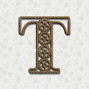 Steampunk Cog Alphabet Letter T
