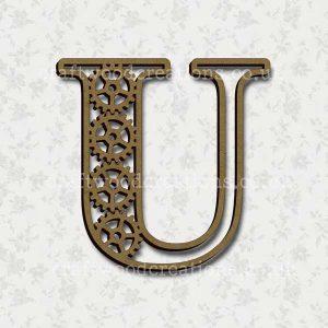 Steampunk Cog Alphabet Letter U