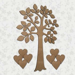 Family Tree With Lovebirds and 8 Hearts